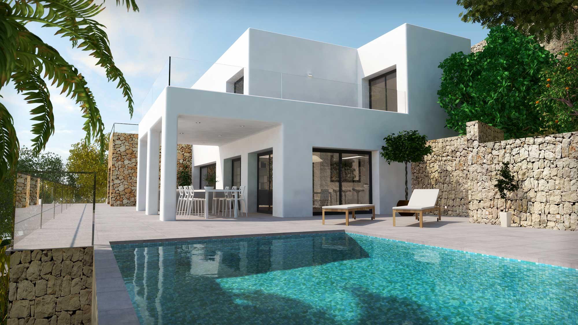 infografía 3D casa exterior piscina
